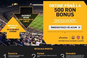 Betfair Sportsbook Romania Bonus 500 lei