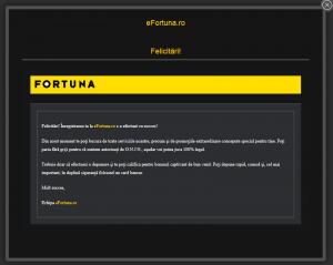 Fereastră confirmare activare bonus Fortuna