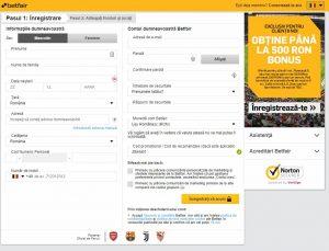 inregistrare cont nou Betfair Romania pentru 500 lei bonus